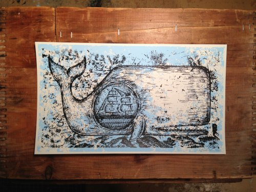 Whale Screen print - Kris Johnsen 2013