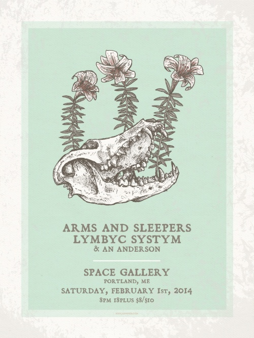 gig poster, screen print, skull, skeleton, flower, lily, flyer, print, arms and sleepers, lymbyc systym, an anderon, space gallery, portland, maine