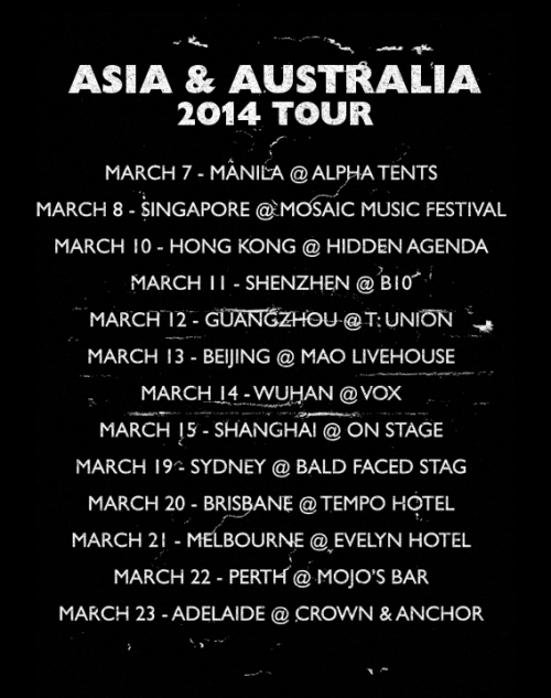 Caspian Asia and Australia 2014 Tour Shirt - Kris Johnsen 2014