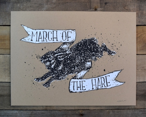 Kris Johnsen - March of the Hare Screen print 2014