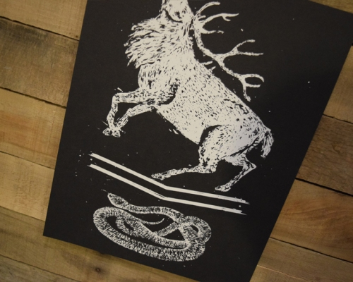 Stag and Snake Screen Printed Poster - Kris Johnsen 2014