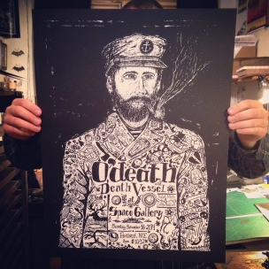 o'death and Death Vessel Poster. Kris Johnsen & Anabele Souza 2014